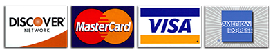 Credit card payment options (Discover, MasterCard, VISA, American Express)